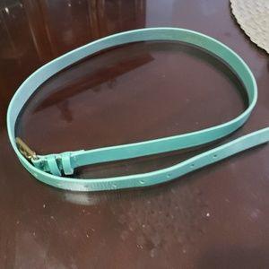 J. Crew Size M Leather belt teal color